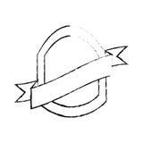 Shield with ribbon emblem sketch Stock Image