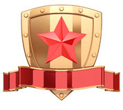 Shield with ribbon and star Royalty Free Stock Photography