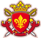 Shield, Ribbons, Crown ,Heraldry fleur-de-lys Stock Image