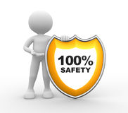 Shield. 100% SAFETY. 3d people - man, person with a shield. 100% SAFETY Stock Photo