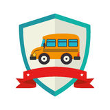 Shield school bus with ribbon Royalty Free Stock Image