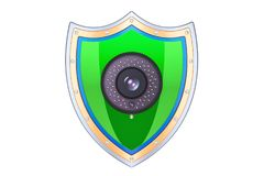 Shield with security camera, protect concept. 3D rendering Stock Photography