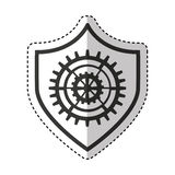 Shield security with gear isolated icon Stock Photography
