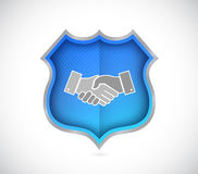 Shield security handshake concept Stock Photography