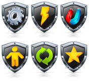 Shield security icons Stock Photography