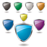 Shield set. Collection of colorful shield in various colours that are blank Stock Photo