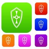 Shield set collection. Shield set icon in different colors isolated vector illustration. Premium collection Stock Photography