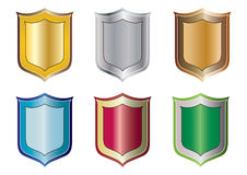 Shield set - vector. Colorful shield set in white background, vector Royalty Free Stock Photo