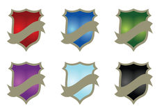 Shield set - vector. Colorful shield set in white background, vector Stock Photography