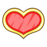 Shield in the shape of heart icon, cartoon style. Red shield in the shape of heart icon. Cartoon illustration of shield in the shape of heart vector icon for web Royalty Free Stock Image