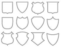 Shield shapes. Collection of heraldic shield shapes Stock Photo