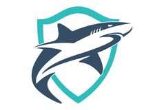 Shield shark logo. Dsign vector logo dsign abstract vector dsign concept Royalty Free Stock Images