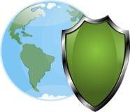 Shield shielding the globe, vector, white background, Stock Image