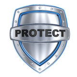 Shield and sign protect. (done in 3d, isolated Stock Images