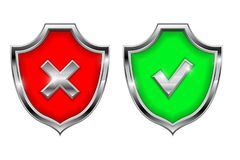 Shield signs. Security alert symbols. Accept and Decline 3d elements. Vector illustration isolated on white background Royalty Free Stock Image