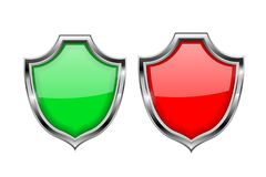 Shield signs. Security alert symbols. Green and red 3d elements. Vector illustration isolated on white background Royalty Free Stock Photos