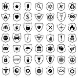 Shield signs, vector. Set of black and white shield signs, vector Stock Images