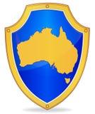 Shield with silhouette of Australia Stock Photo