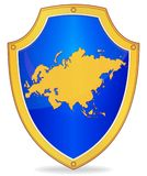 Shield with silhouette of Eurasia Royalty Free Stock Image