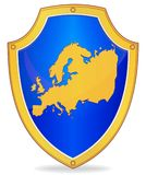 Shield with silhouette of Europe Royalty Free Stock Images