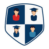Shield with silhouettes people professional and graduate Royalty Free Stock Image