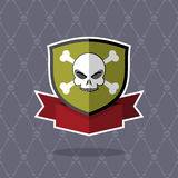 Shield with skull. pirate emblem Royalty Free Stock Photo
