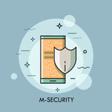 Shield and smartphone with lock screen, mobile security concept. Payment protection, data encryption, information safety icon. Vector illustration in thin line Royalty Free Stock Photos