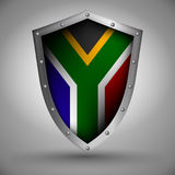 Shield with the South Africa flag Stock Images