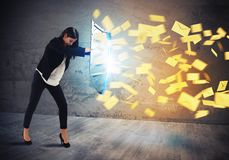 Shield spam. Businesswoman is protected with shield by letters Stock Photography