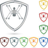 Shield and spider, coat of arms, collection, security and shield logo. Shield and spider, coat of arms, collection, colored, security and shield logo Stock Photos