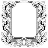 Shield stamp with a wreath of oak branches, isolated vector illu Stock Image