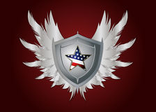Shield with a star and feathers Royalty Free Stock Photography