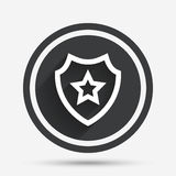 Shield with star icon. Favorite protection. Stock Images