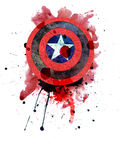 Shield with a Star. Red and blue grunge cartoon shield Stock Photography