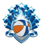 Basketball on Flaming Shield with Stars and Banner vector illustration