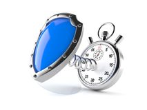 Shield with stopwatch. Isolated on white background stock illustration