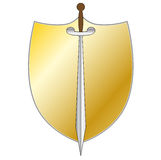 Shield with sword Stock Photos