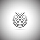 Shield and sword. Abstract vector icon - shield and sword. Shield and sword emblem Stock Photo