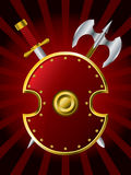 Shield with a sword and axe Royalty Free Stock Images