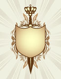 Shield, sword and crown Stock Image