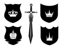 Shield, sword and crown. On the white background Royalty Free Stock Photos