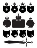 Shield, sword and crown. On the white background Stock Images