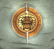 Shield and sword. Illustration glossy shield and sword scene abstract background Stock Photos