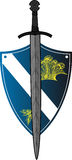 Shield with sword over. And signs Royalty Free Stock Images