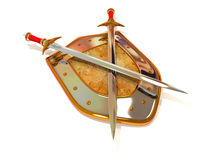 Shield with Sword. Security. 3d Very beautiful three-dimensional illustration, figure Stock Photo