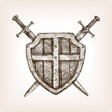 Shield and sword sketch style vector illustration Royalty Free Stock Images