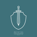 Shield and sword Royalty Free Stock Photography