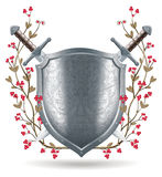 Shield, sword and wreath illustration Royalty Free Stock Photos