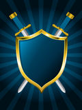 Shield with swords. Cool blue shield with two swords Royalty Free Stock Image