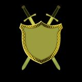 Shield with Swords. Golden Shield with two crossing swords royalty free illustration
